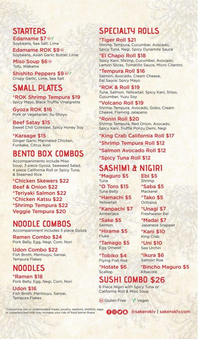 Lunch Menu, Food - Sake Rok Las Vegas