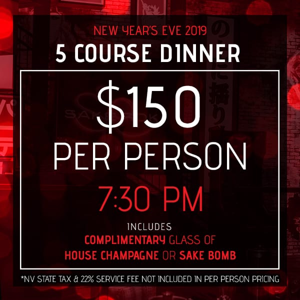 5 Course Dinner Option, New Year's Eve 2019, Sake Rok Las Vegas