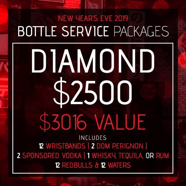 Diamond Bottle Service Package, New Year's Eve 2019, Sake Rok Las Vegas