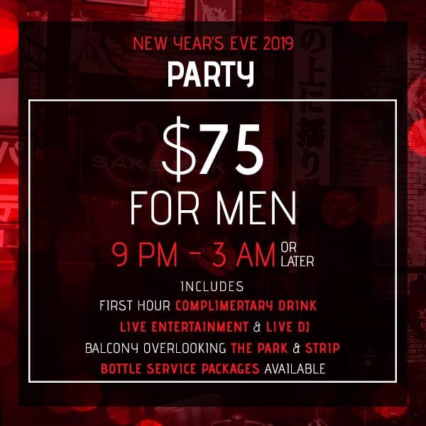 Evening Party for Men, New Year's Eve 2019, Sake Rok Las Vegas